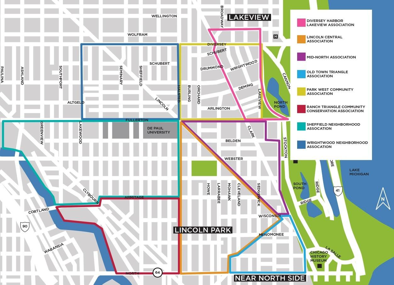 Neighborhood Organizations Lincoln Park Chamber Of Commerce - Chicago neighborhood map art